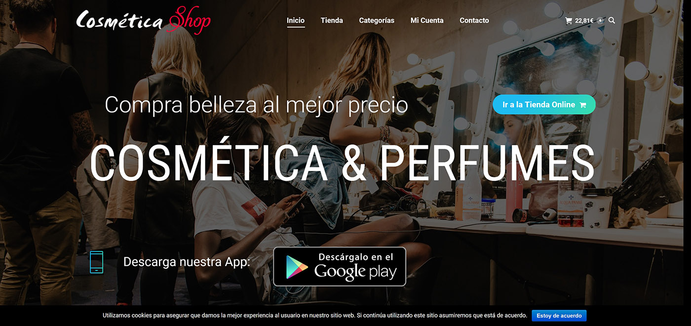 Web design for a cosmetics and perfume shop