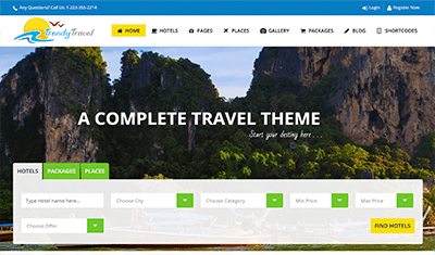 Examples of travel agency web design
