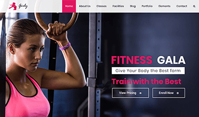 Examples of fitness websites