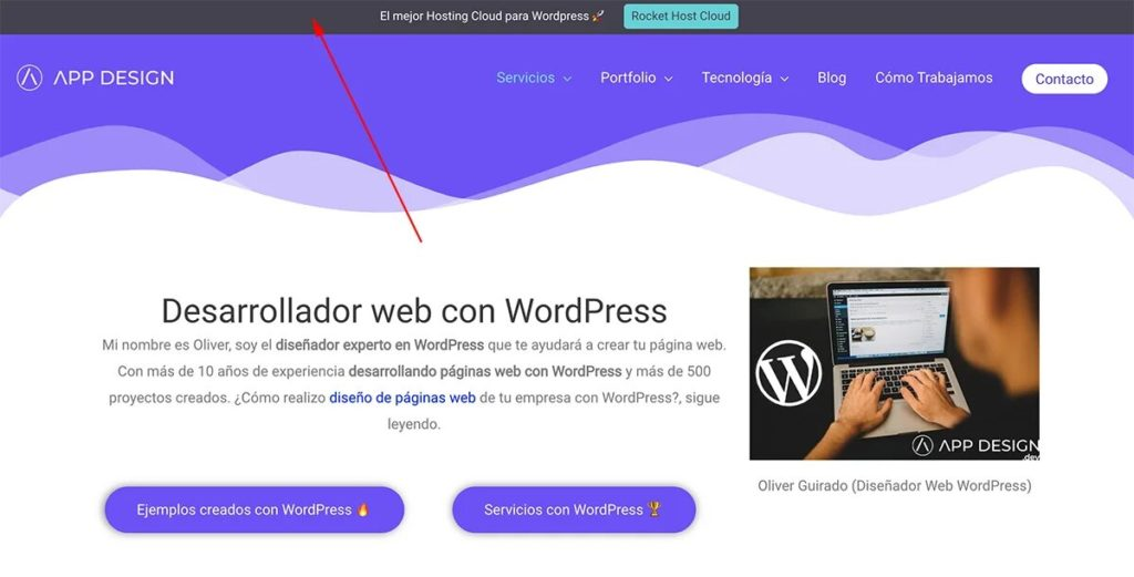 Barra de notificación superior para WordPress